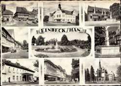 Postcard Einbeck in Niedersachsen, Marktplatz, Postamt, Rathaus, Goethe Schule