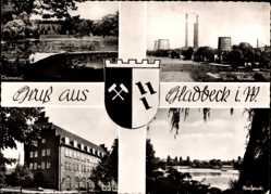 Postcard Gladbeck im Ruhrgebiet, Zeche Hibernia, Nordpark, Postamt, Ehrenmal
