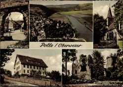 Postcard Polle an der Weser in Niedersachsen, Blick auf Burgstraße, Kirche