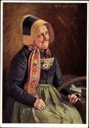 Künstler Ak Nitsch, R., Mönchguterin, Frau in Tracht der Insel Rügen