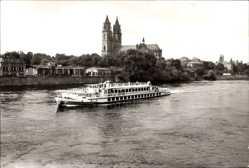Postcard Magdeburg in Sachsen Anhalt, Elbe und Dom, Elbdampfer