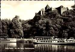 Postcard Halle an der Saale, An der Burg Giebichenstein, Saaledampfer