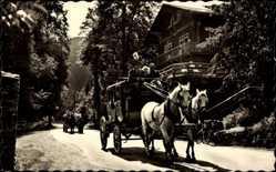 Postcard Postkutsche im Schwarzatal mit HO Gaststätte Schweizerhaus