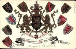 Präge Wappen Litho Belgien, Armoiries Belges, L'Union fait la Force
