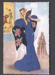 Stoff Ak Spanien, Spanierin in langem, blauem Kleid, Madrid, Stierkampf, Fächer