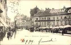 Postcard Wien Österreich, Blick in die Wiedener Hauptstraße, Flügelrad, Kutsche