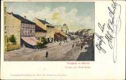 Postcard Schabatz Serbien, Straßenpartie, Passanten, Geschäfte, Häuser