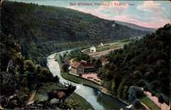 Postcard Bad Wildstein Treseburg Bodetal, Ortschaft, Flusspartie, Hirsch