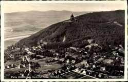 Postcard Porta Westfalica, Fliegeraufnahme, Kaiser Wilhelm I. Denkmal