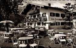 Postcard Inzell in Oberbayern, Das Café Fischer mit Gartenansicht