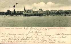 Postcard Ostseebad Ahlbeck Heringsdorf, Strandpartie mit Brücke