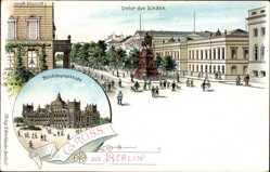 Litho Berlin, Unter den Linden mit Reichstagsgebäude, Friedrich d. Große Denkmal