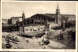 Postcard Hamburg Mitte Altstadt, Blick auf den Hauptbahnhof, Straßenbahnen