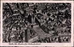 Postcard Halle an der Saale, Fliegeraufnahme, Stadtmitte, Kirche