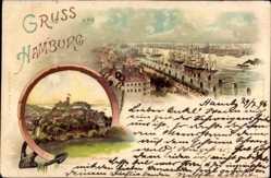 Litho Hamburg Altona Blankenese, Hafenpartie, Segelschiffe, Aussichtsturm