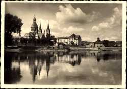 Postcard Seligenstadt in Hessen, Partie am Main mit Kirchtürmen