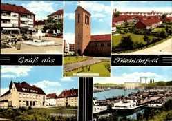 Postcard Friedrichsfeld Voerde Niederrhein,evang. Kirche, St Elisabeth Kirche,Schleuse