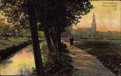 Postcard Quakenbrück in Niedersachsen, Partie im Hagen