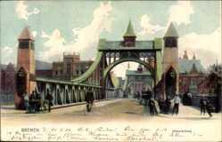 Postcard Hansestadt Bremen, Partie vor der Weserbrücke