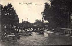 Postcard Burg im Spreewald, Abfahrtsstelle des Spreehafen, Gondeln