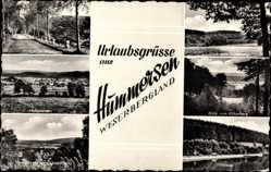 Postcard Hummersen Lügde im Weserbergland, Freibad, Köterberg, Klosterberg