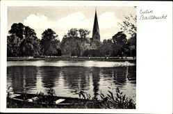 Postcard Eutin in Ostholstein, Partie an der Stadtbucht mit Kirche