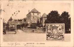 Postcard Mersch Luxemburg, Le Château, Ansicht vom Schloss, Wappen