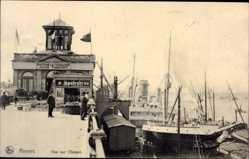 Postcard Antwerpen Flandern, Vue sur l'Escaut, Anlegestellen, Spatenbräu Reklame
