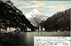 Postcard Flüelen Kt Uri, Bristenstock, Wasserblick, Ort, Berg