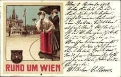 Litho Wien, Rund um Wien, Straßenbahnfahrt, Salonwagen Rundfahrten