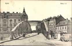 Postcard Győr Ráb Raab Ungarn, Raba hid, Brücke, Straßenpartie