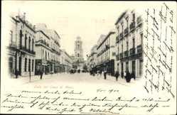 Postcard Mexiko Stadt, Calle del Cinco de Mayo, Straßenpartie, Kirche