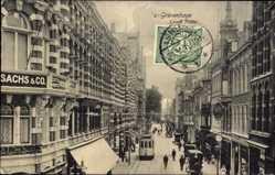Postcard 's Gravenhage Den Haag Südholland, Lange Poten, Straßenpartie, Straßenbahn