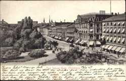 Postcard Christiania Oslo Norwegen, Carl Johans Gade, Straßenpartie