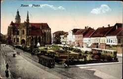 Postcard Košice Kassa Kaschau Slowakei, Föutca, Platz, Straßenbahnen