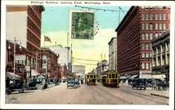 Postcard Winnipeg Manitoba Kanada, Portage Avenue, looking East, Straßenbahnen