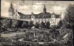 Postcard Kołobrzeg Kolberg Pommern, Strandschloss vom Rosengarten aus