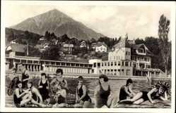 Ak Spiez Kt. Bern Schweiz, Strandbad mit Badeleben, Frauen in Badeanzügen