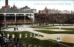 Postcard Chicago Illinois USA, baseball Game, west side ball Grounds, Zuschauer