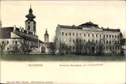 Postcard Budweis České Budějovice Südböhmen Tschechien, Deutsches Gymnasium