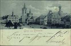 Mondschein Ak Litoměřice Leitmeritz Reg. Aussig, Blick auf einen Platz, Kirche