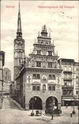 Postcard Nysa Neisse Schlesien, Kämmereigebäude mit Ratsturm, Brunnen