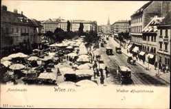 Postcard Wien 9. Alsengrund Österreich, Wiedner Hauptstraße, Naschmarkt