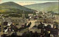 Postcard Kraslice Graslitz Räumertal Reg. Karlsbad, Blick auf Kirche und Marktplatz