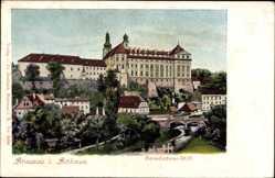 Postcard Broumov Braunau Region Königgrätz, Benediktiner Stift, Fluss, Brücke