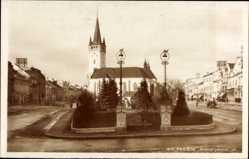 Postcard Prešov Eperies Preschau Slowakei, Masarykova ul., Kirche, Straße