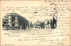 Postcard Madrid Spanien, Calle de Alcala, Straßenpartie, Passanten, Häuser