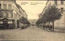 Postcard Kortrijk Courtrai Westflandern, Rue du Chemin de Fer, Statiestraat