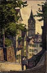 Künstler Ak Schlatter, Zürich Stadt Schweiz, Pfalzgasse mit St. Peter