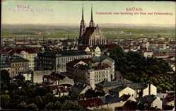 Postcard Brno Brünn Südmähren, Totalansicht vom Spielberg mit Dom und Franzensberg